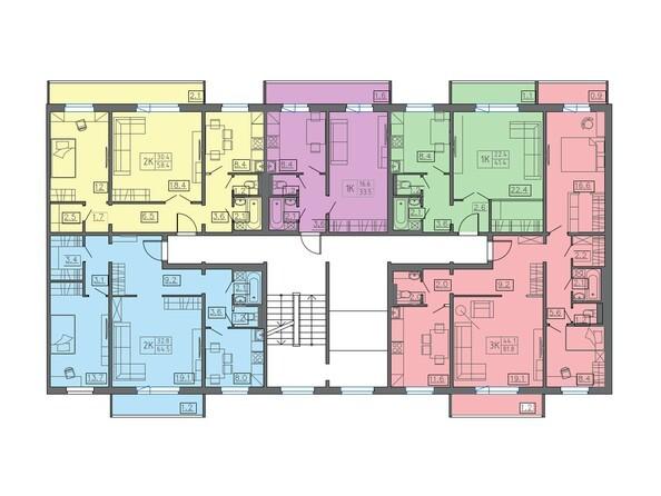 Планировки КОЛИБРИ  - Подъезд 1. Планировка 2-7 этажей