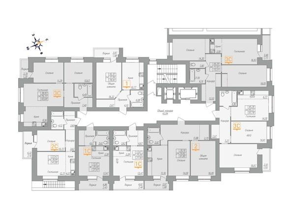 Планировки Жилой комплекс ОГНИ - Планировка 3-16 этажей, 2 б/с