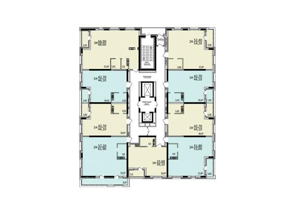 Планировки Жилой комплекс КУЗЬМИНКИ, дом 1 - Планировка 21-22 этажей
