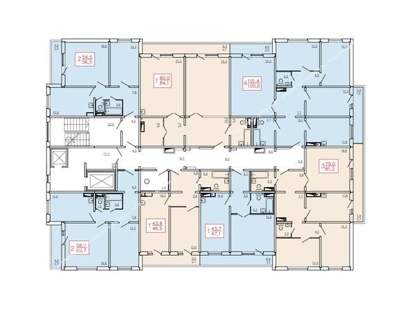 Планировки Жилой комплекс КУРЧАТОВА, дом 6, стр 2 - Планировка 2-9 этажей