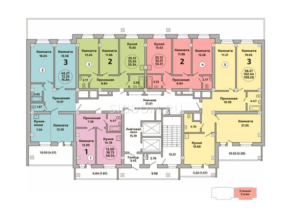Блок-секция 2. Планировка 2-3 этажей