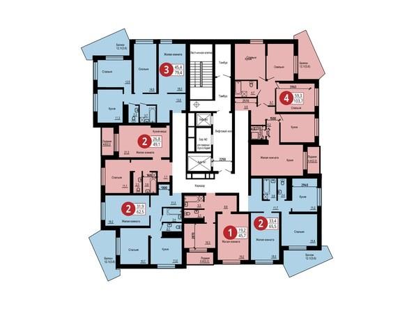 Планировка 15-17 этажей