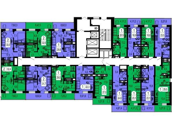 4 секция. Планировка 17 этажа
