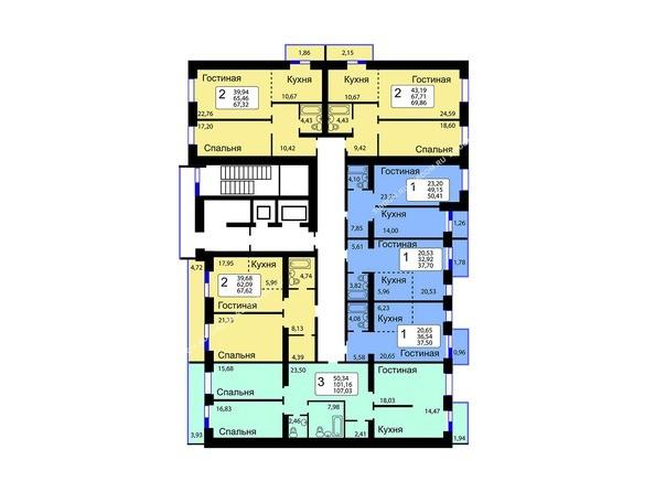 Блок-секция 13. Планировка 10-16 этажей