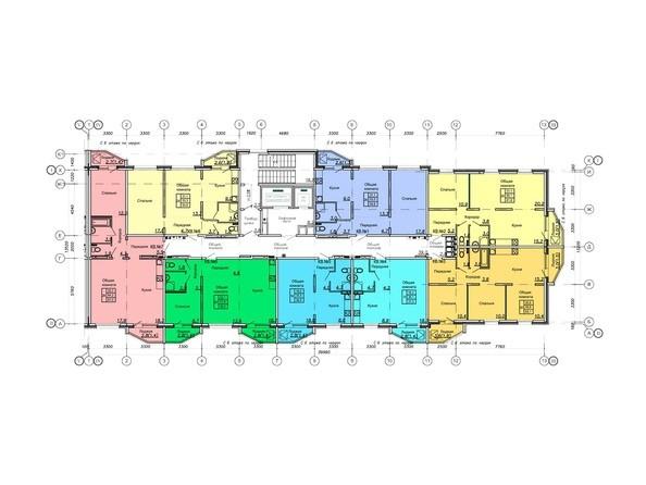 Блок-секция 1. Планировка 3-8 этажей