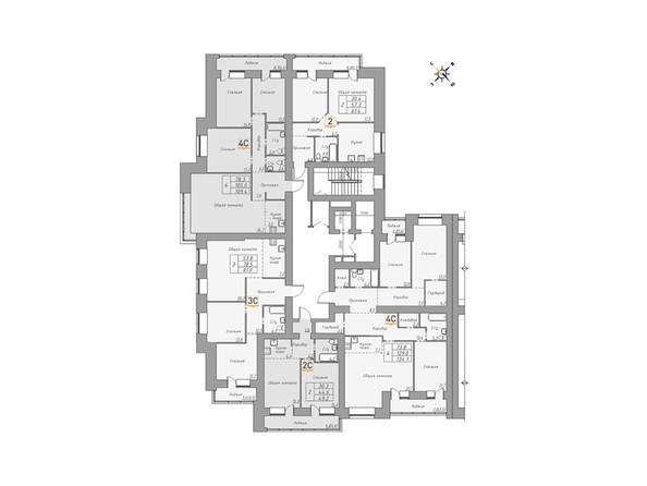 Планировки ДВЕ ЭПОХИ, корпус 1 - Планировка 14-16 этажей, 3 б/с