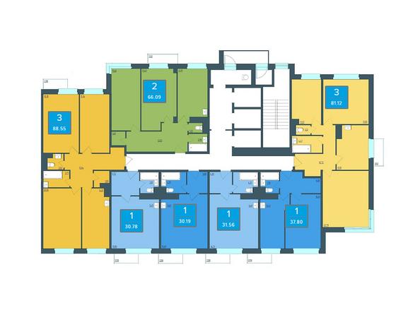 Планировки Жилой комплекс ПРЕОБРАЖЕНСКИЙ, дом 13 - Подъезд 1. Планировка 4-25 этажей