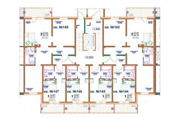 Планировки Жилой комплекс БЕРЁЗОВАЯ РОЩА, 70е, 1 очередь - Блок-секция 2 (подъезд 4). Планировка 1 этажа