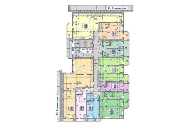 Блок-секция 14. Планировка 2-10 этажей