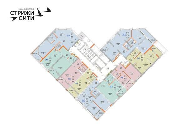 Планировки Жилой комплекс СТРИЖИ СИТИ, 1 оч - Планировка 10-12 этажей