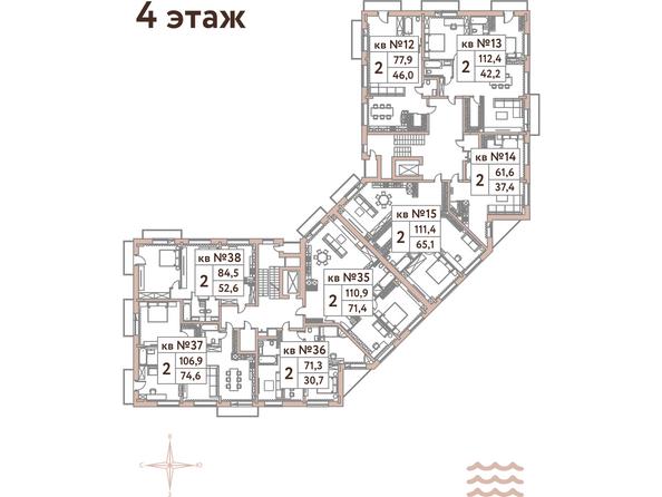 Планировки Жилой комплекс Эко-квартал Flora&Fauna (Флора и Фауна), блок В - Планировка 4 этажа