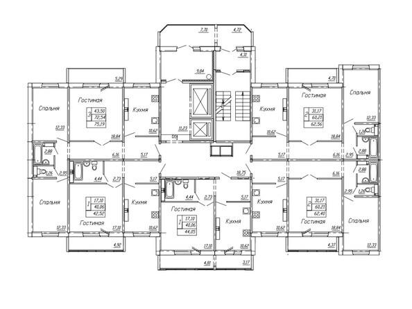Подъезд 1. Планировка 4,5,7-10,15,16 этажей