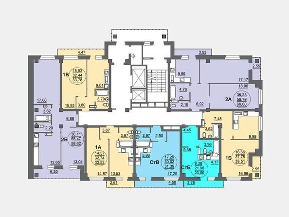 Планировки Жилой комплекс МАТРЕШКИН ДВОР, дом 95/4-2 - Блок-секция 1. Планировка 6-17 этажей