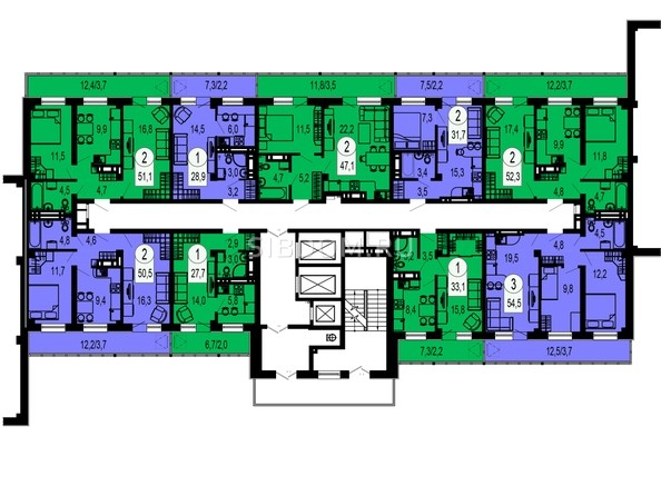 Планировки Жилой комплекс ТИХИЕ ЗОРИ, дом 1 (Красстрой) - Блок-секция 4. Этаж 16