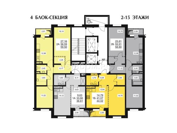 Типовой этаж 4 блок-секции