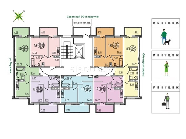 Блок-секция 4-15. Планировка типового этажа