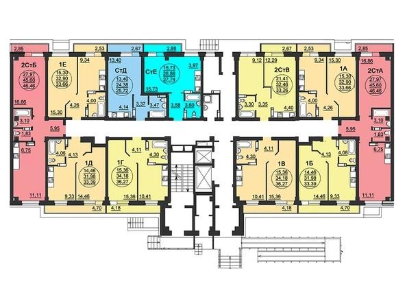 Планировки Жилой комплекс ЛЕТО, дом 3, б/с 3,4 - Блок-секция 3. Планировка 1 этажа
