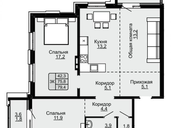 Продам 3-комнатную, 79.4 м², ЛАПЛАНДИЯ, дом 1. Фото 16.