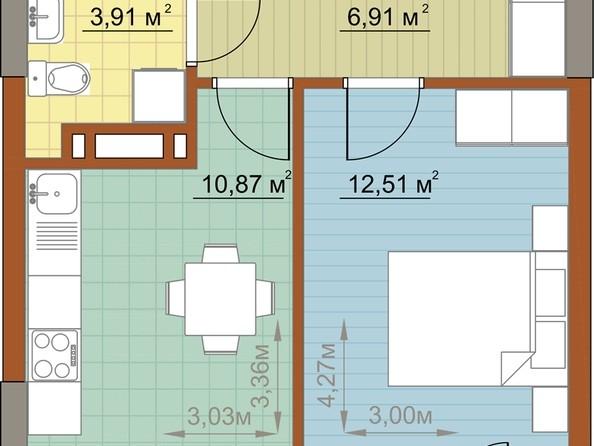 Продам 1-комнатную, 34.2 м2, Николая Островского ул, 60. Фото 1.